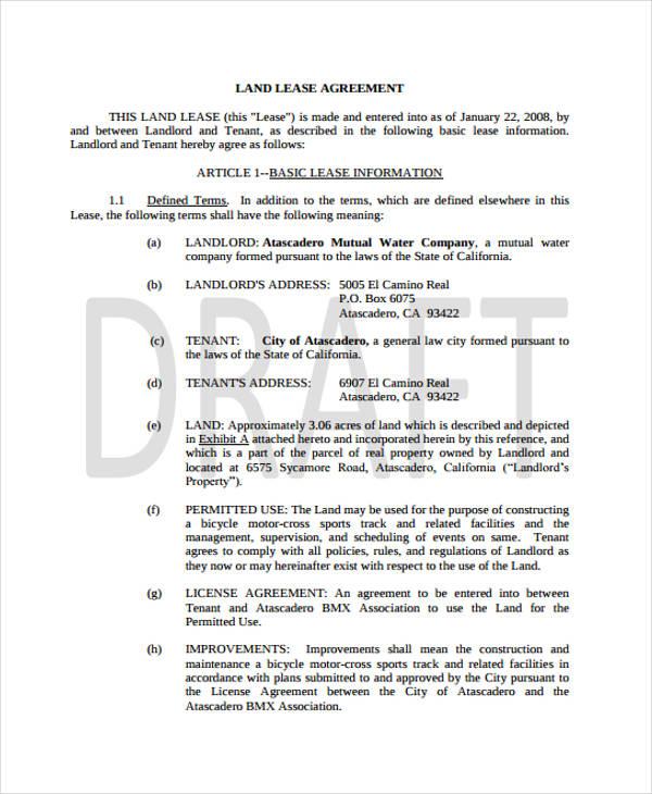 Sample Land Lease Agreement Agricultural Land Lease Agreement 7+ - free sample lease agreement