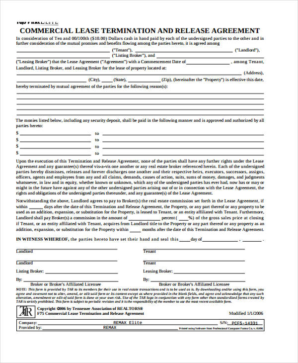 40 Sample Lease Agreement FormsCommercial Lease Termination - lease agreement form