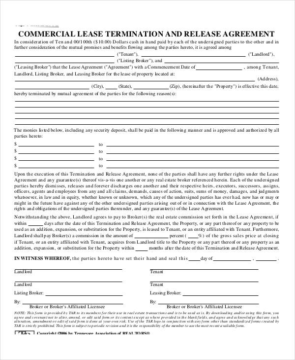 Lease Agreement Form TemplateCommercial Lease Termination - lease agreement form