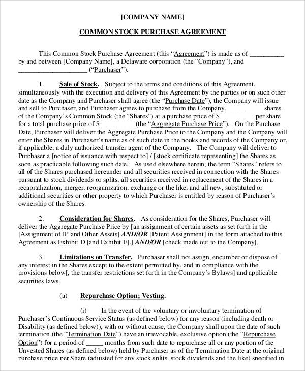 Sample Stock Purchase Agreement Template purchase and sale - sample purchase and sale agreement template