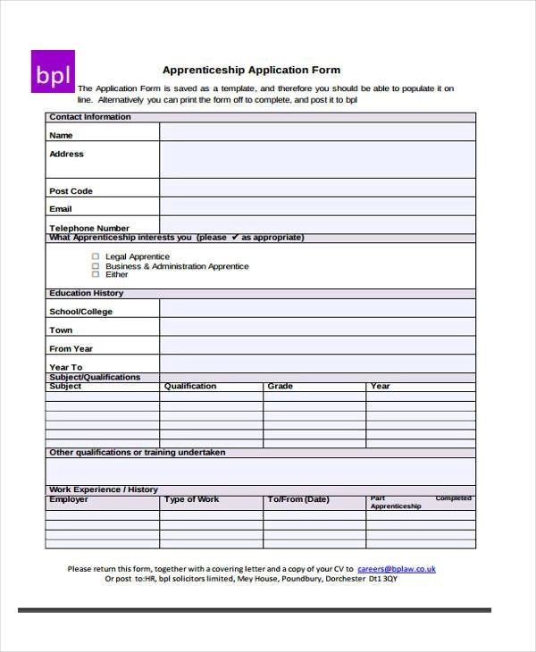 Application Forms Example - application form example