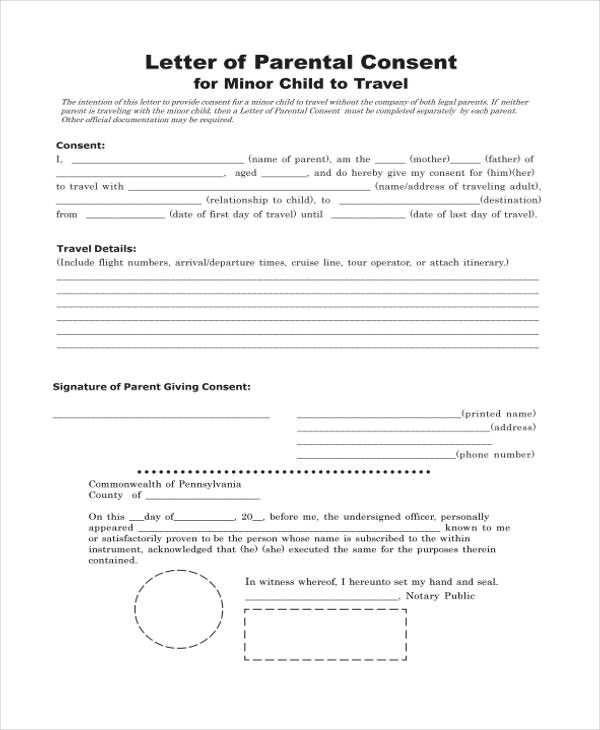 Parental Consent Form For Passport. example letters of consent ...