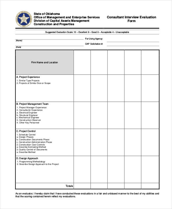 Free Interview Evaluation Form - interview evaluation form