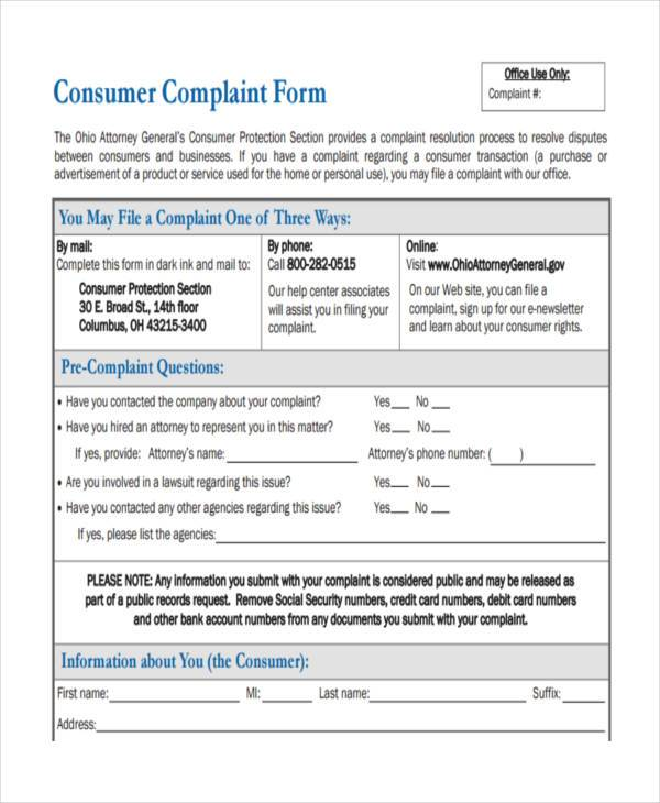 complaint resolution form - Kavarquiztrivia