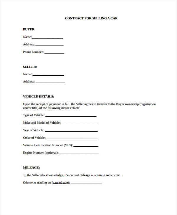 Contract Forms in PDF - car sales contract sample