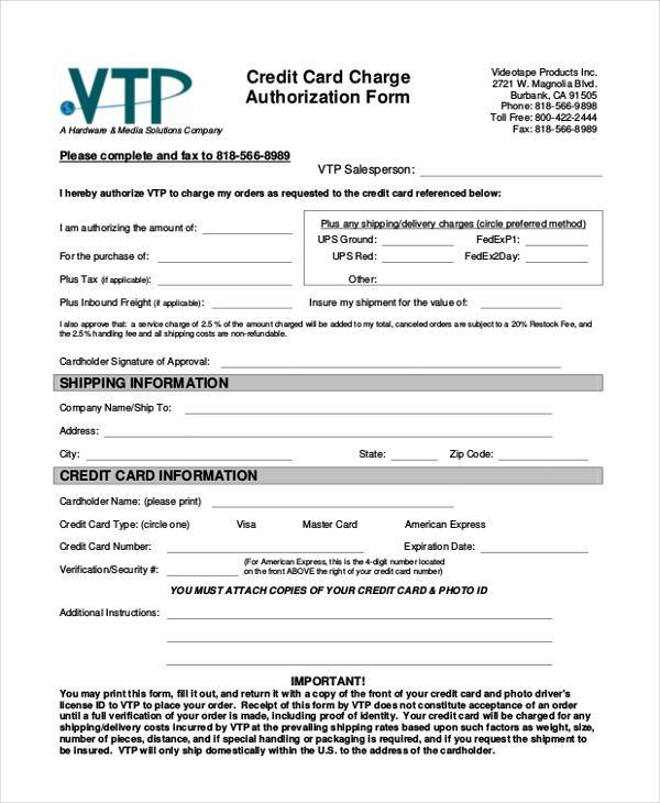 Authorization Form Templates - shipping information template