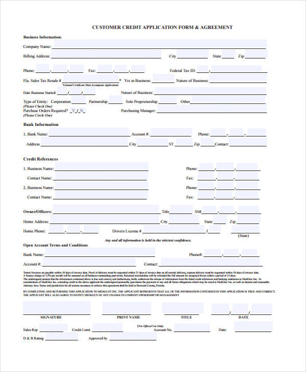 21+ Free Credit Application Forms - credit application form