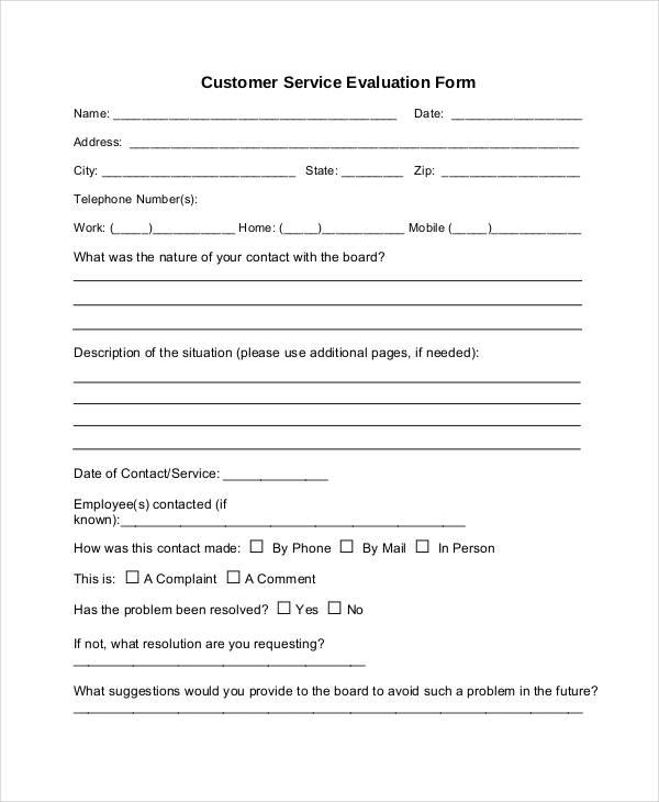 Service Form Template