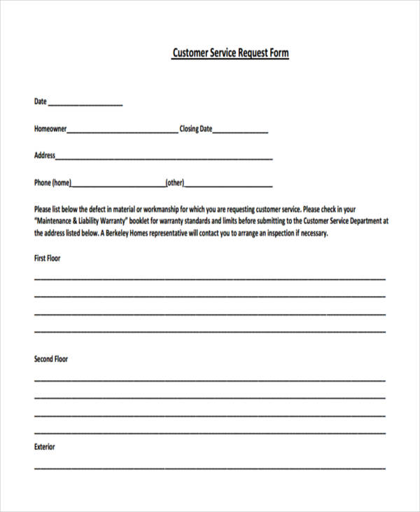 29+ Sample Service Forms - service request form