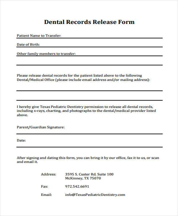 Dental Records Release Form Dentist Doctors Note Template Free - medical records release forms