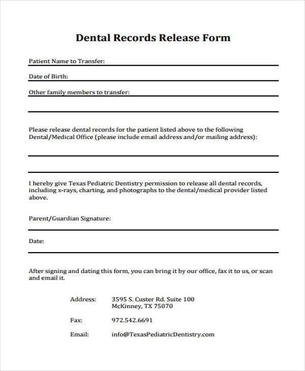 Dental Release Form Medical Dental History Form - Adult Online - medical records release form