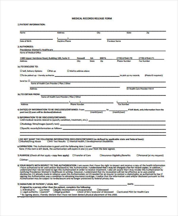 24 Medical Release Form Templates - dental records release form
