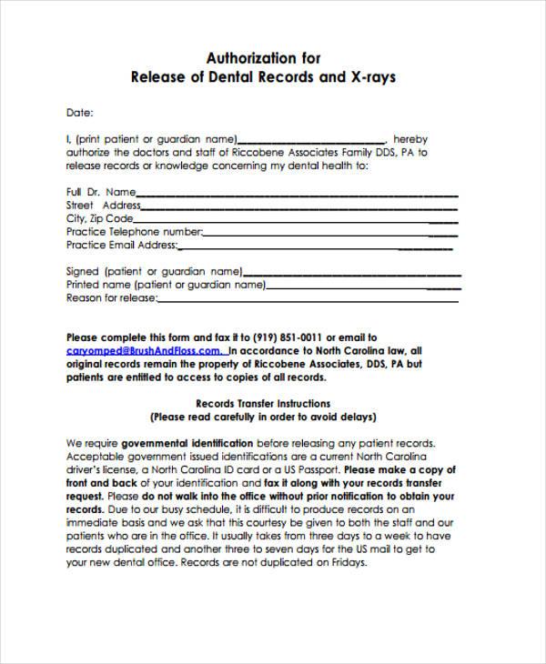 Patient Release Form - dental records release form