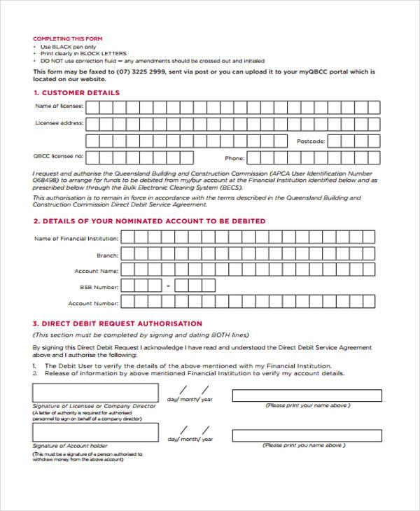 Service Agreement Forms - direct debit form