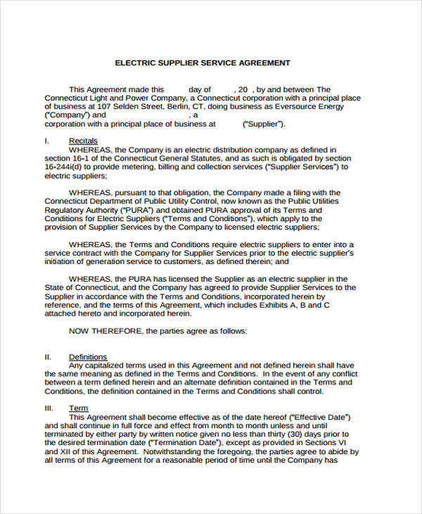 Service Agreement Forms - business service agreement