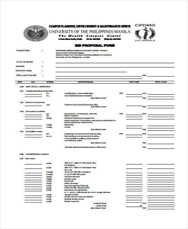 sample of electrical proposal forms
