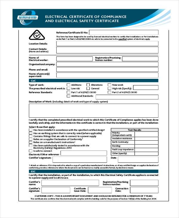 Certificate Form Templates - certificate of compliance template