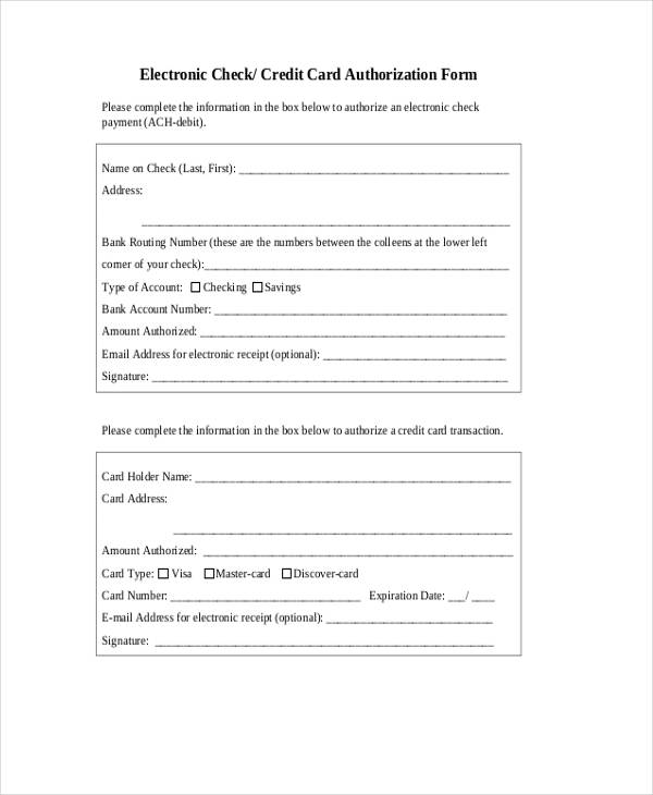 12+ Check Authorization Form Sample - Free Sample, Example, Format - Credit Check Release Form