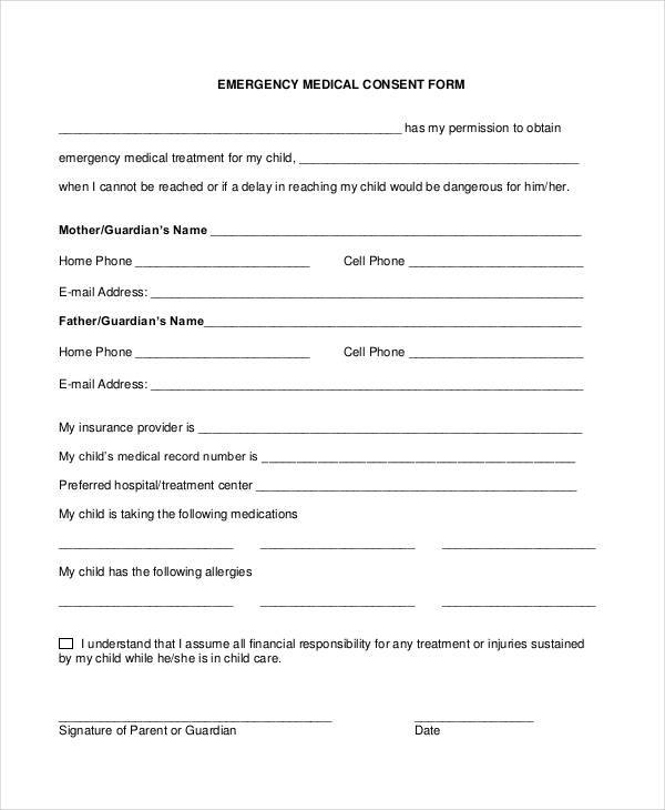 Blank Printable Medical Consent Forms - Worksheet  Coloring Pages