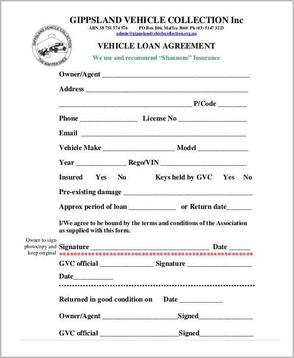 Free Loan Agreement Form - free loan document template