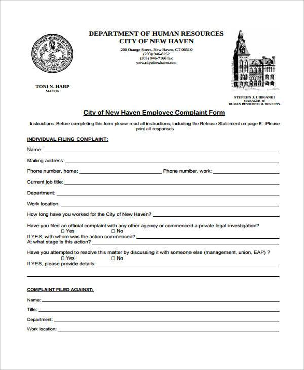 New customer form template word nfgaccountability – Employee Complaint Form Example