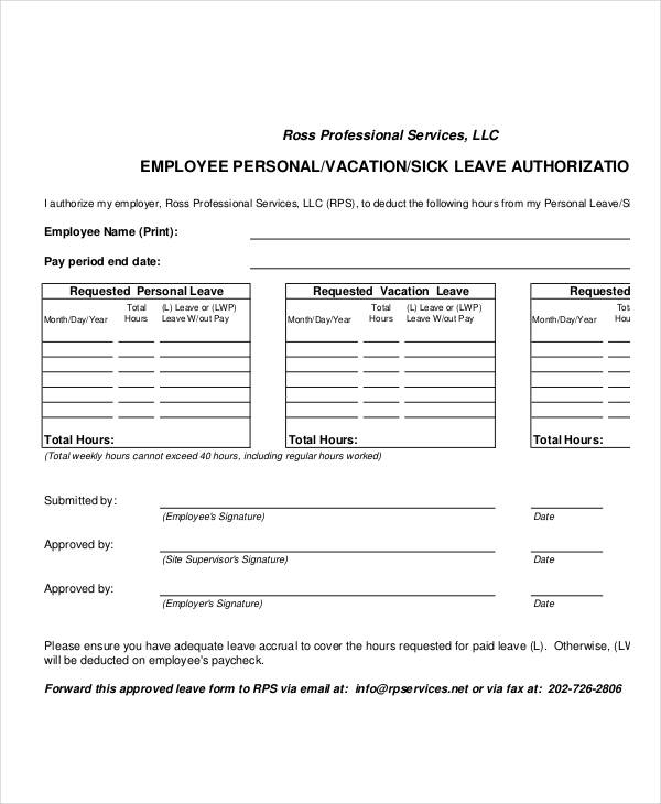 Sample Leave Authorization Form - 14+ Free Documents in Word, PDF - sample employment authorization form