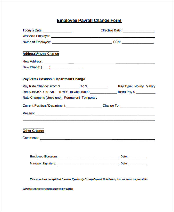 payroll change form template free - Ozilalmanoof - payroll form templates