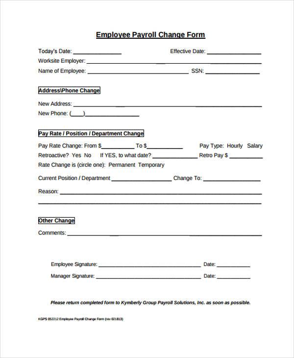 payroll change form template free - Maggilocustdesign - address change form template