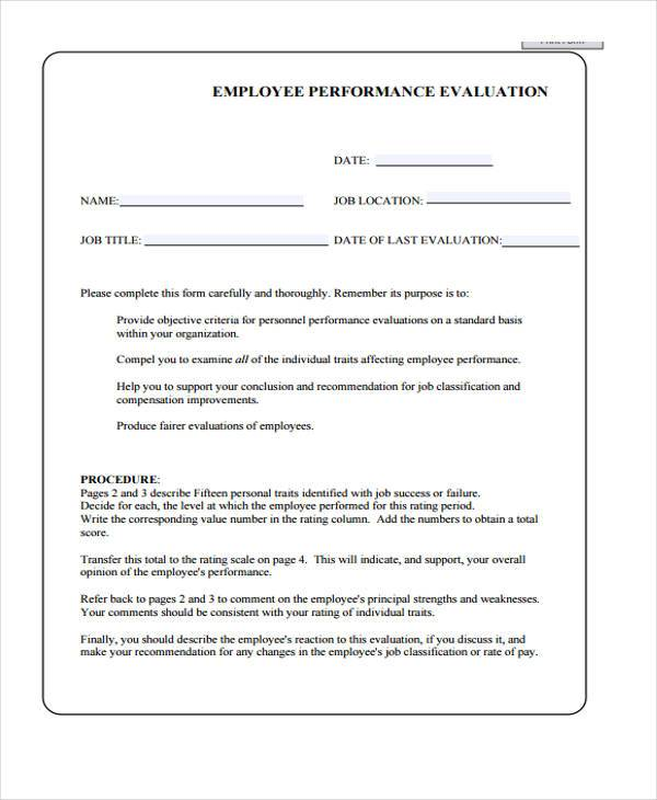 Evaluation Forms - hotel employee performance evaluation form