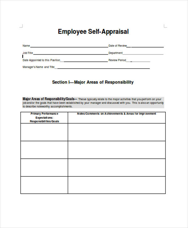 Employee Appraisal Form Template Uk