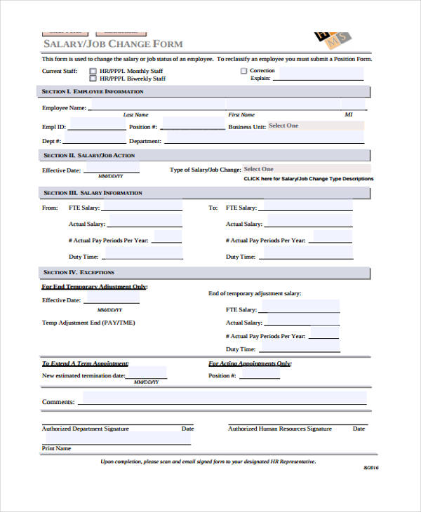Employee Change Form. untitled document. sample employee personal ...