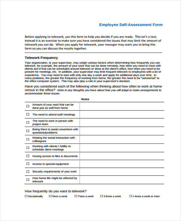 35+ Self-Assessment Form Templates - PDF, DOC - employee self evaluation form