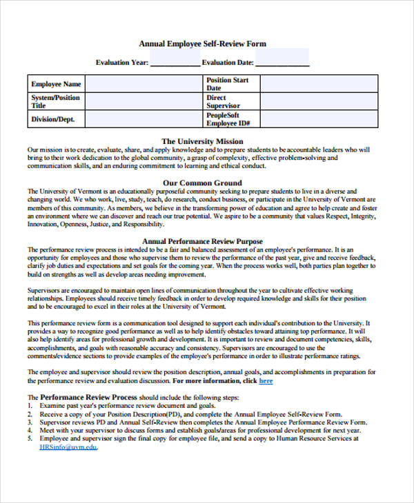 Self-Evaluation Form Templates - self review template