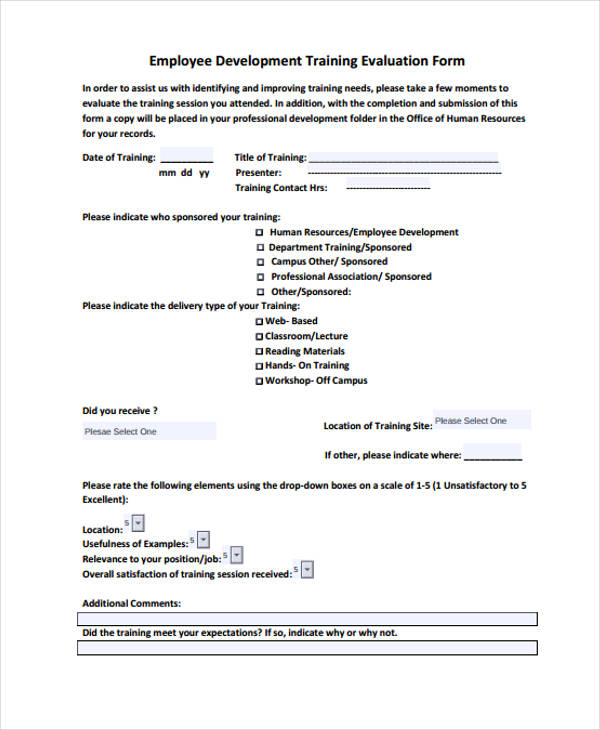 Sample Training Evaluation Form - on the job training evaluation form