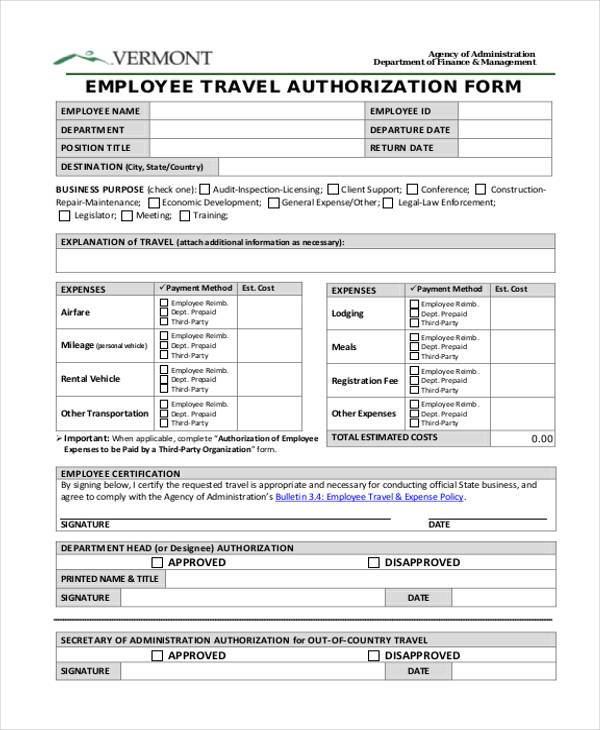 Authorization Form Templates - sample employment authorization form