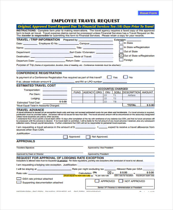Travel Form Formats - travel agent form