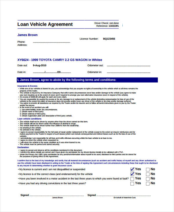 Vehicle Lease Agreement Template Nz | Workers Compensation For