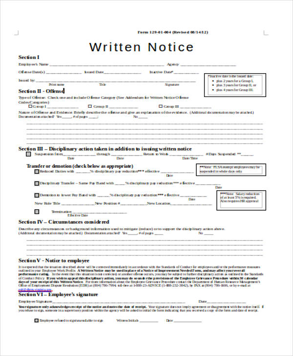 28 Notice Forms in Word