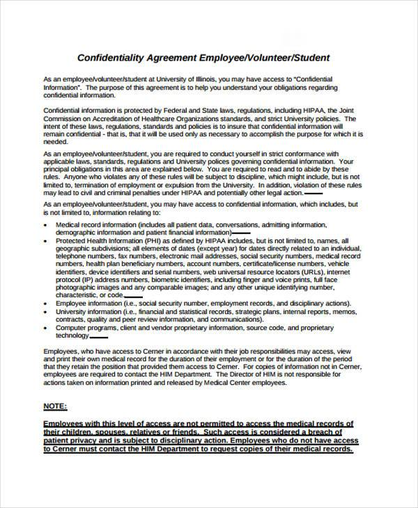 Contract Forms In Pdf ~ Employment Confidentiality Agreement