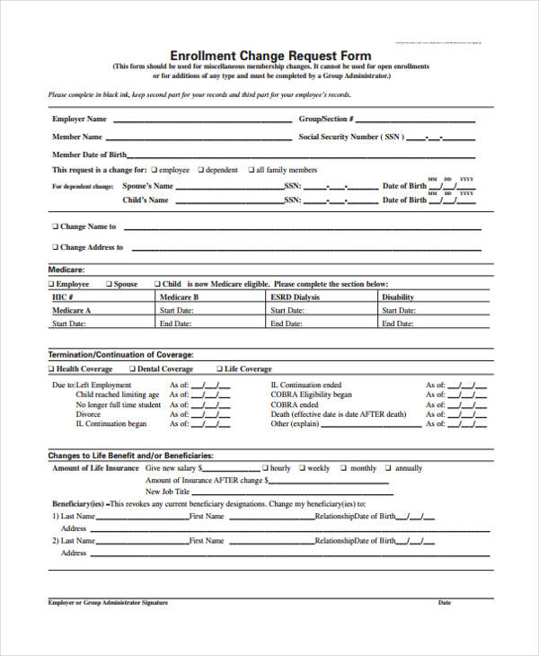 Change Form Template - Address Change Form