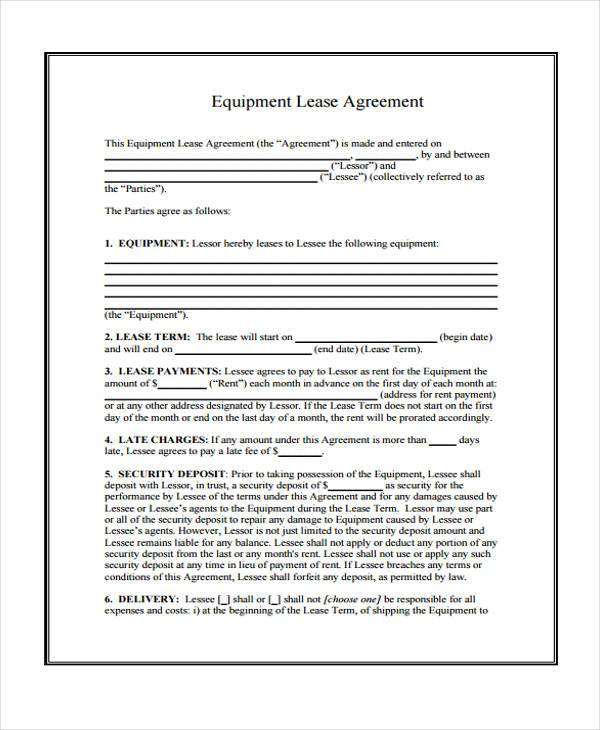 Doc#12751650 Sample Equipment Lease Agreement Template - equipment rental agreement sample