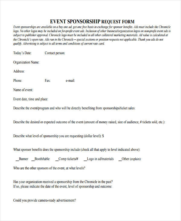 Sample Event Forms - 38+ Free Documents in Word, PDF - sponsorship request form