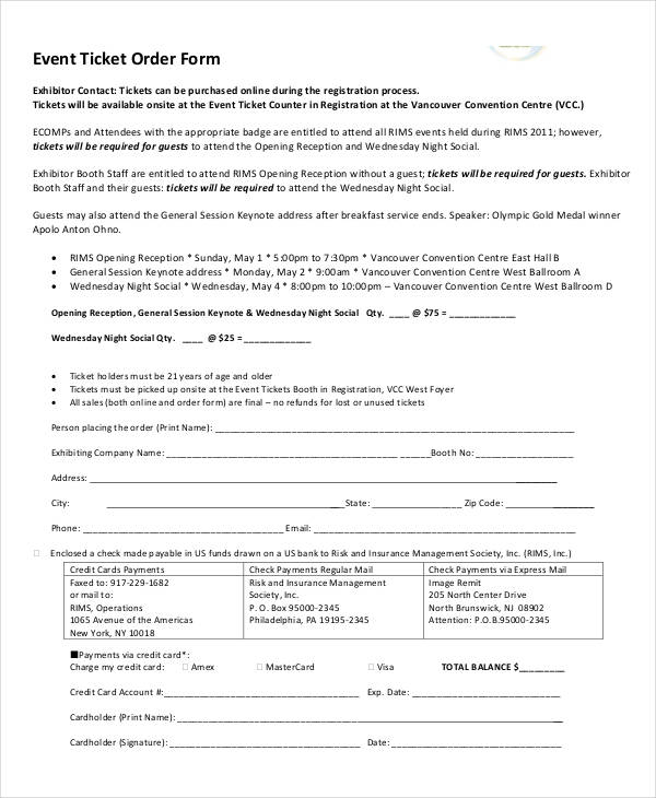 36 Event Form Examples - event order form
