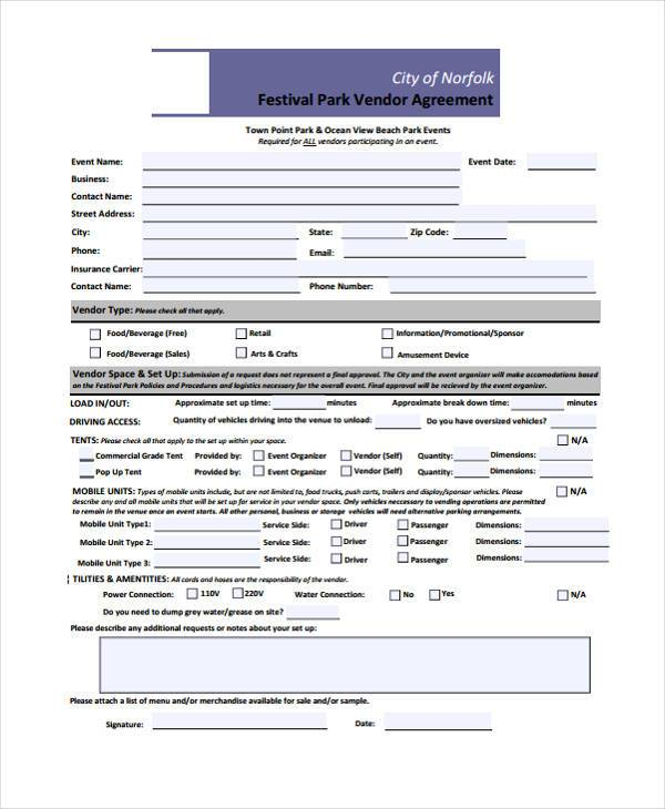 Contract Forms in PDF - vendor contract agreement