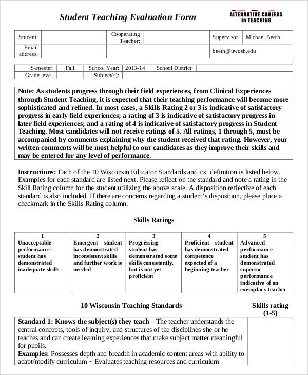 27+ Teacher Evaluation Form Example - sample student evaluation forms