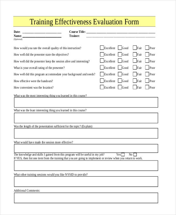 21+ Free Training Evaluation Form - how to create evaluation form