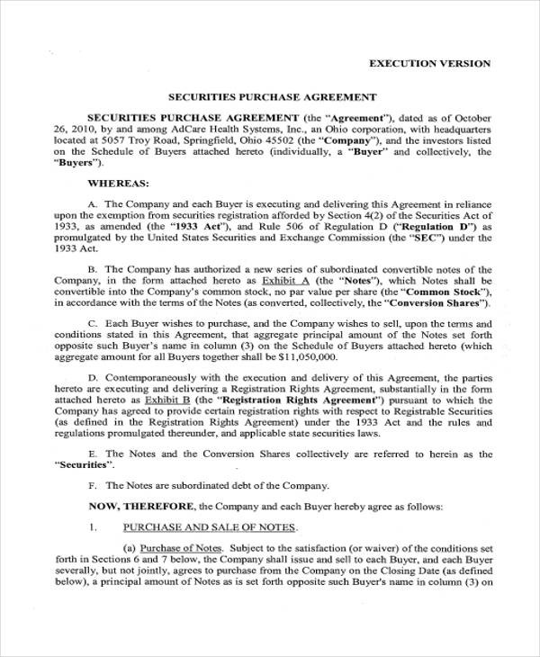 24+ Purchase Agreement Form in PDF - subordination agreement template