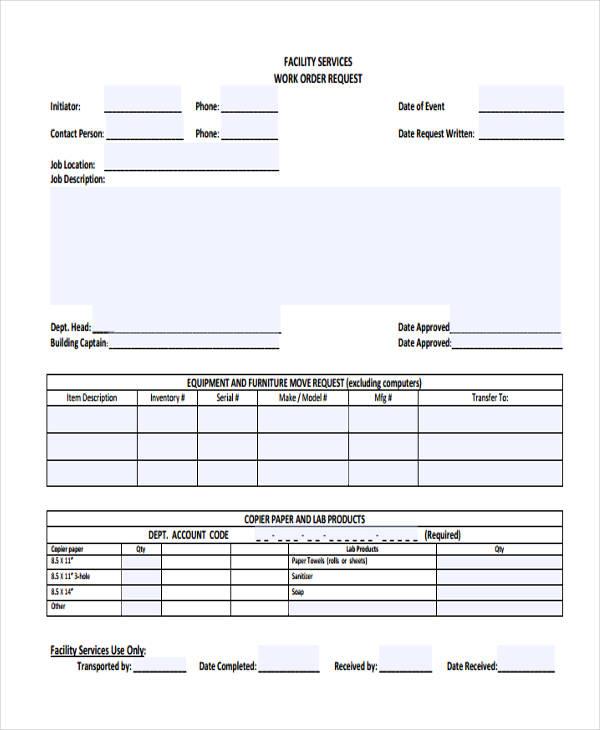 22+ Work Order Form Template   Paper Order Form