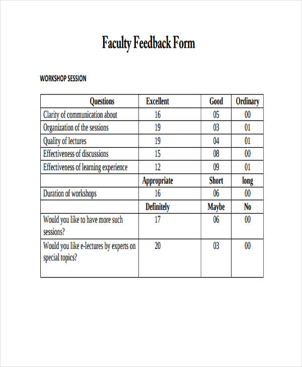 Student Feedback Form In Doc Sample Faculty Feedback Forms Free - Workshop Feedback Form