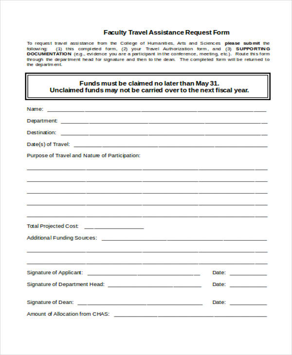Travel Request Form Template - funding request form